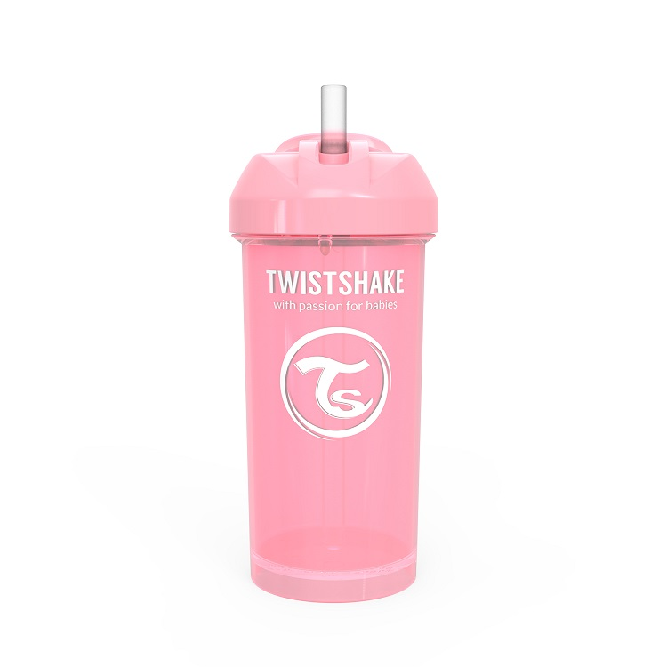 Vaso con Bombilla Twistshake Straw Cup 360ml 12m Rosa