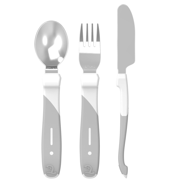 Cubiertos Twistshake Learn Cutlery Stainless Steel 12 m Blanco
