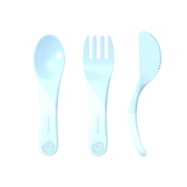 Cubiertos Twistshake Learn Cutlery 6 m Celeste