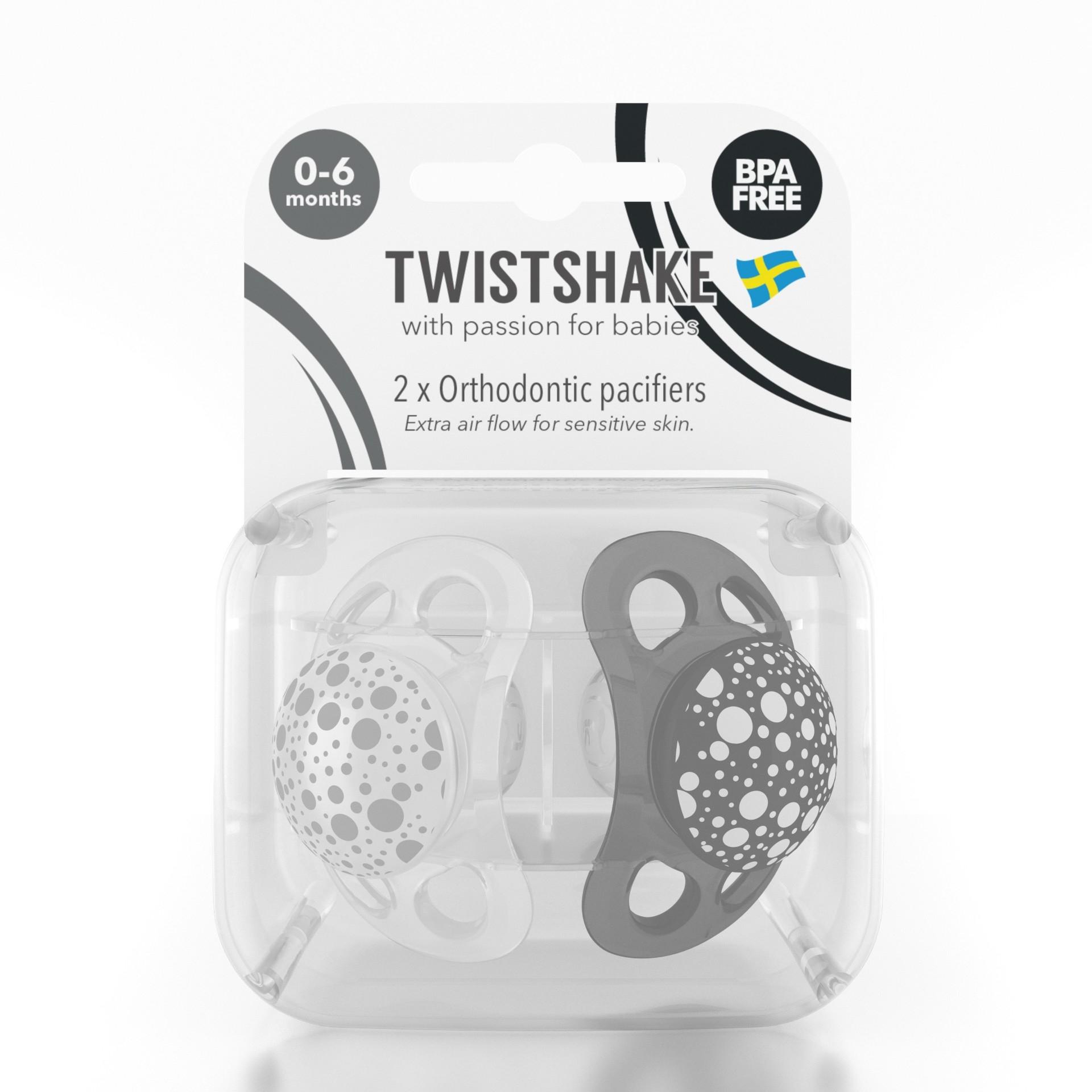 Chupete Twistshake 2x Pacifier 0-6m Negro Blanco