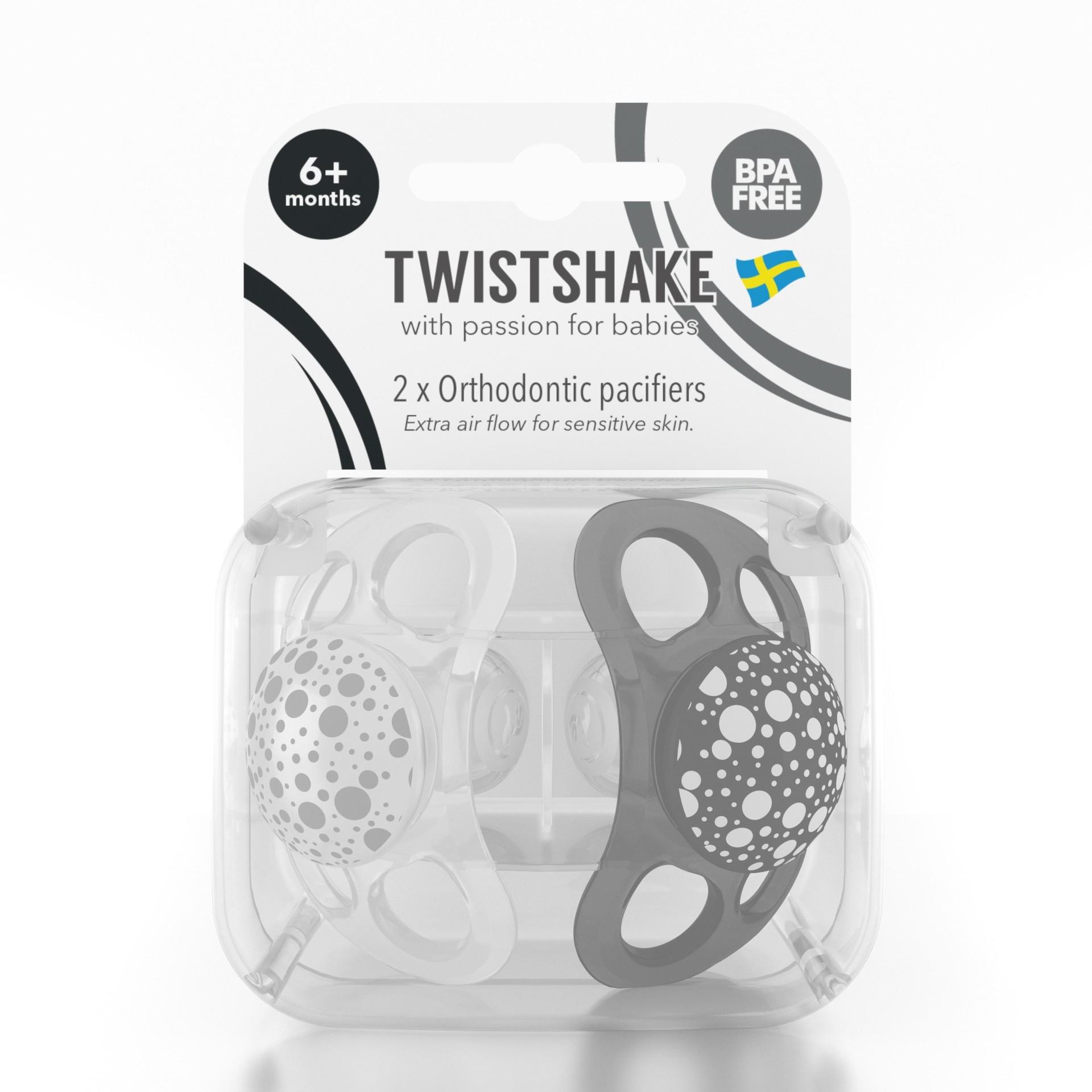 Chupete Twistshake 2x Pacifier 6 m Negro Blanco